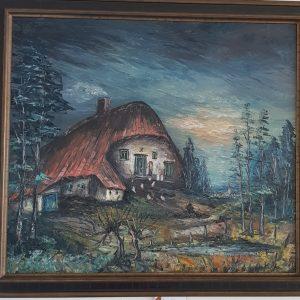 Картина с маслини бои на платно