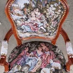 Кресло стил Луи 14-ти, дамаска – дъб, Нов – внос от Холандия