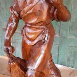 """Дървена статуя """" Китаец с риба, тиково дърво, ръчна изработка"""