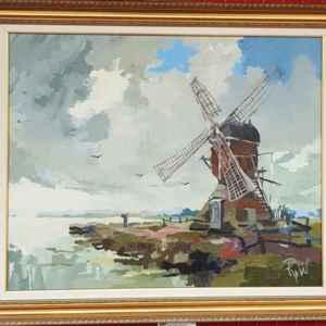 Картина с маслени бои на платно, мотив, нидерландска мелница,  собствено производство – репродукция