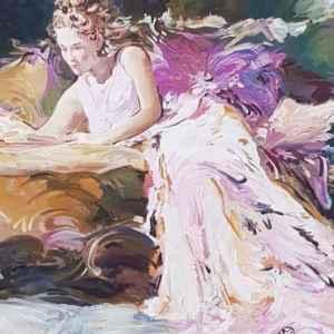 Картина с маслени бои на платно, мотив,  дама на диван  – репродукция,  собствено производство