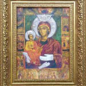 """Икона """" Св.Богородица Троеручица """" , репродукция на платно, собствено производство"""
