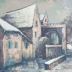 Картина с маслени бои на платно от W. Hoesen, 1965 год., внос от Белгия