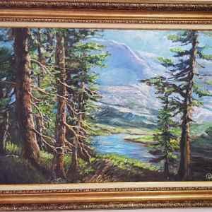 Картина с маслени бои на платно, горски пейзаж,  мотив, борове с река, репродукция, собствено производство
