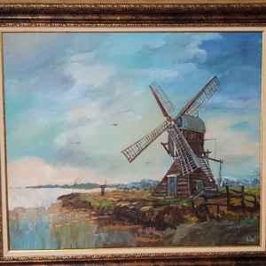 Картина с маслени бои на платно – мотив, нидерландска вятърна мелница,  репродукция,  собствено производство.