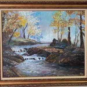 Картина с маслени бои на платно, есенен горски пейзаж с река,  репродукция, собствено производство