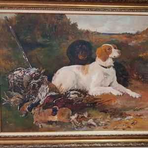 Картина с маслени бои на платно, куче с улов, заек-фазани, репродукция, собствено производство