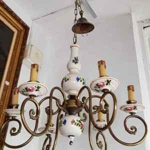 Полилей с шест броя крушки в съчетание бронз-порцелан, внос от Белгия