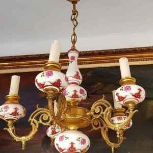Полилей с пет броя крушки,  в съчетание от порцелан и бронз, внос от Белгия