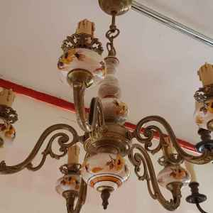 Полилей с пет броя крушки, бронз-порцелан,  внос от Белгия