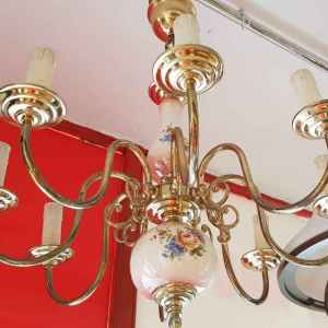 Полилей с осем крушки,  бронз-порцелан,  внос от Белгия