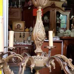 Полилей с шест броя крушки,  бронз, внос от Белгия