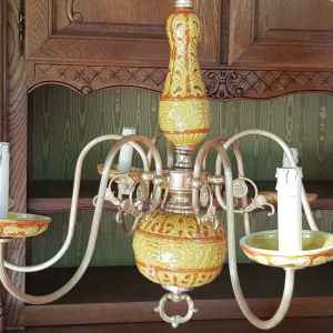 Полилей с шест броя крушки,  бронз-порцелан, внос от Белгия