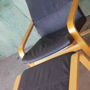 Релаксиращ стол комплект с столче за крака, кожа, внос от Нидерландия