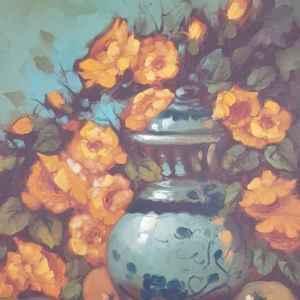 Картина с маслени бои на платно , still life,  20th century,  внос от Белгия