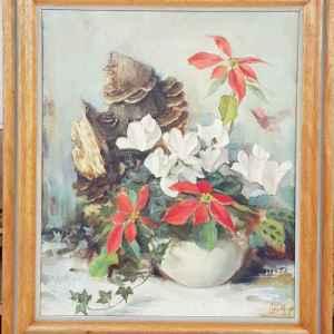 Картина с маслени бои на платно от известен нидерландски художник Zacharias Simons, 1910-1981 still life,  внос от Нидерландия