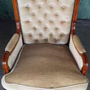 Кресло с подлакътници стил Луи 14-ти,  дъб-дамаска,  внос от Белгия