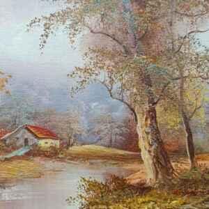 Картина с маслени бои на платно,  есенен пейзаж,  внос от Нидерландия