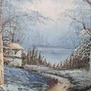 Картина с маслени бои на платно, зимен пейзаж,  внос от Нидерландия