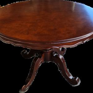 Трапезна кръгла маса от птичи явор с един крак,  внос от Франция.