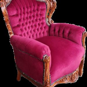 Фотьойл-дамаска червен плюж, ръчна дърворезба,  нов, внос от Нидерландия