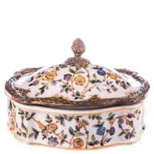 Кутия за бижута с капак,  бронз и порцелан,  нова,  внос от Германия.