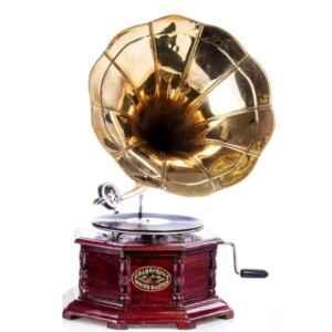 Грамофон с фуния – механично задвижване, дърво-месинг, нов, внос от Германия