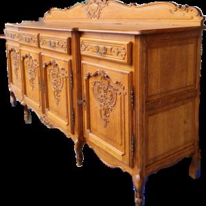 Комплект трапезария стил Луи 14-ти в топ-състояние,  състояща се от: скрин, витрина, трапезна разтегателна маса и 6 бр., трапезни столове, внос от Белгия