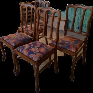 Трапезни столове стил Луи 14-ти комплект от четири броя,  дъб-дамаска, внос от Белгия