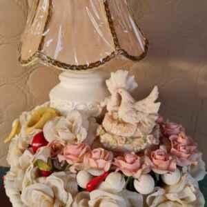 Нощна лампа , нова с мотив цветя и гълъби, внос от Белгия