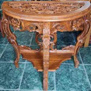 Конзола дърворезба от махагон, нова, внос от Германия