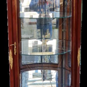 Овална ъглова витрина,Нова, изцяло ръчно изработена с мотиви от бронз,  ветринаж с фасет, внос от Франция