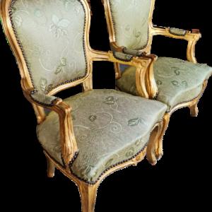 Кресло дъб-злато със зелена дамаска,  нов, внос от Нидерландия