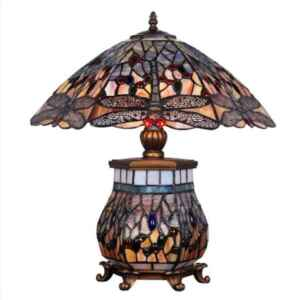 """Настолна лампа """"Тифани"""" с три крушки едната във вътрешността на тялото, Нова,  внос от Германия"""