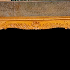 Холна маса стил Луи 14-ти  дъб, ратан с стъкло внос от Белгия