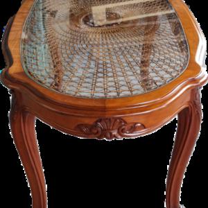 Холна маса стил Луи 14-ти, овална ратан с стъкло  от Белгия.