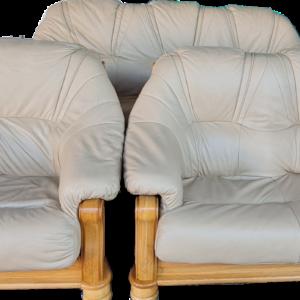 Холова гарнитура комплект от диван 3-ка, диван 2-ка и 1 бр.фотьойл в съчетание от дъб и естествена кожа, внос от Нидерландия