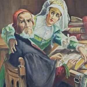 Картина с маслени бои на платно от известен нидерландски художник Cor Emans, 20th century,  Нидерландия