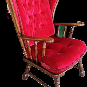 Кресло от дъб с червена дамаска,  внос от Нидерландия