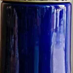 Висока ваза нова, стъклена с орнаменти,  синя внос от Белгия