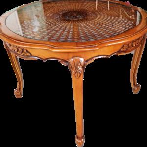 Холова кръгла маса в стил Луи 14-ти дъб с плетен радан и стъкло в топ-състояние,  внос от Белгия
