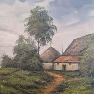 Картина с маслени бои на платно от известен нидерландски художник J. Kok, title Farm at the river, производство 1983 год., внос от Нидерландия