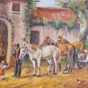"""Картина с маслени бои на платно от известен германски художник Georg Bader, 20th century,  """"farm with horses"""" внос от Нидерландия."""