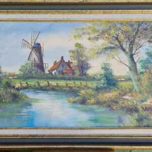 Картина с маслени бои на платно от известен нидерландски художник  Willy, 20th century внос от Нидерландия.